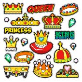 Crowns Golden Decorative Elements for Scrapbook Stickers Patches Badges Vector Doodle