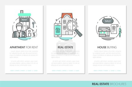 Real Estate Business Brochure Template with Thin Line Vector Icons