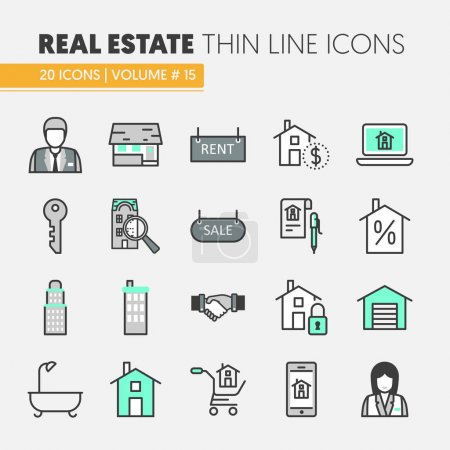Illustration for Real Estate Thin Line Vector Icons Set with Agent and Houses - Royalty Free Image