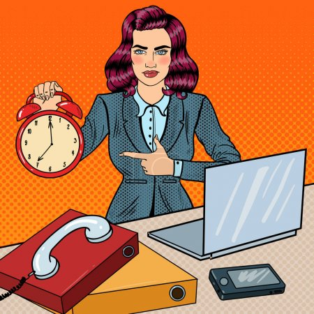 Pop Art Business Woman Holding Alarm Clock at Office Work with Laptop. Vector illustration