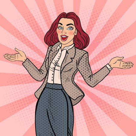 Illustration for Pop Art Excited Happy Business Woman. Vector illustration - Royalty Free Image