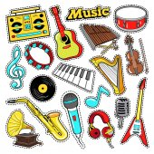 Musical Instruments Doodle for Scrapbook Stickers Patches Badges with Guitar Drum and Vinyl Vector illustration