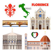 Florence Italy Travel Doodle with Architecture Map and Flag Vector illustration