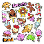 Funny Dessert Characters Facial Emoji for Badges Patches Stickers Vector doodle
