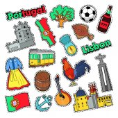 Portugal Travel Elements with Architecture for Badges Stickers Prints Vector Doodle