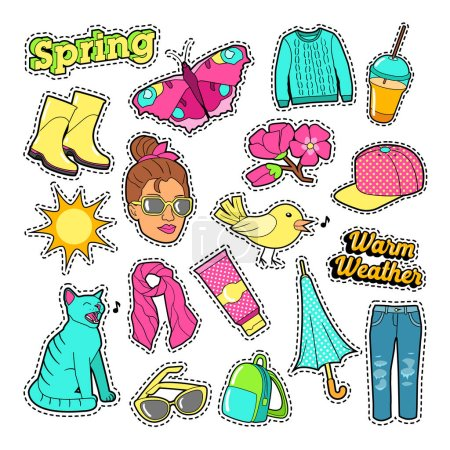 Spring Woman Fashion with Clothes and Accessories for Badges, Stickers, Patches. Vector Doodle