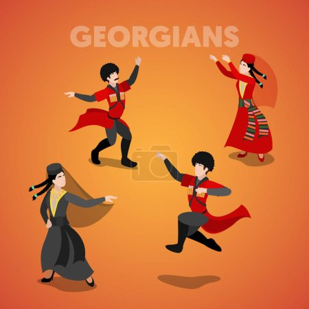 Isometric Georgian Dancing People in Traditional C...