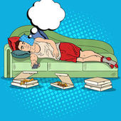 Pop Art Lazy Man Lying on Sofa and Watching TV with Pizza Vector illustration