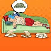 Pop Art Lazy Man Lying on Sofa Watching TV and Dreaming about Big Money Vector illustration