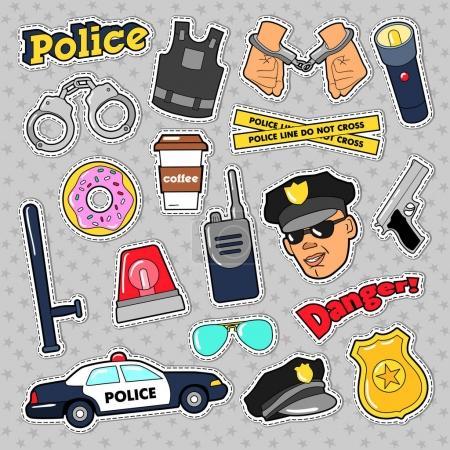 Illustration pour Autocollants de sécurité de la police avec Officier, Pistolet et Voiture. Doodle vectoriel - image libre de droit