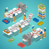 Fish Farming Industry with Conveyor and Workers Vector flat 3d isometric illustration