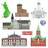 Helsinki Travel Set with Architecture Visit Finland Vector illustration