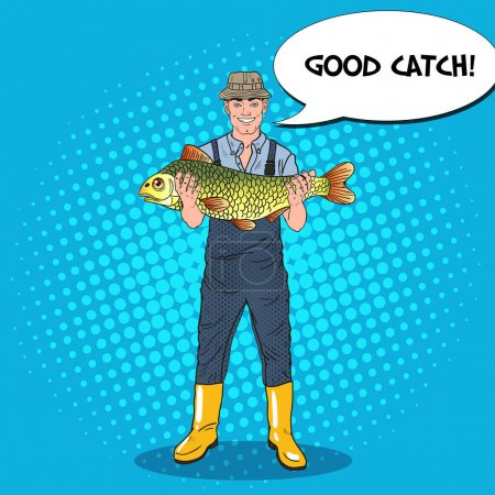 Pop Art Happy Fisherman Holding Big Fish. Good Catch. Vector illustration