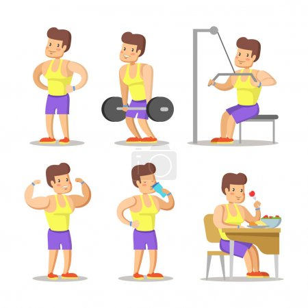Strong Man Cartoon. Body Builder in Gym. Healthy L...