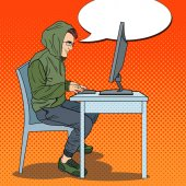 Hacker Hooded Man Stealing Data from Computer Cyber Crime Pop Art retro vector illustration