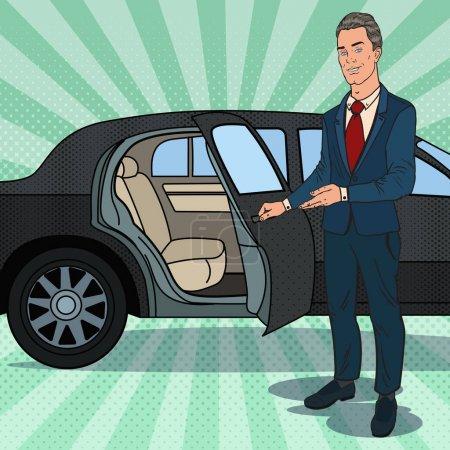 Illustration pour Driver Waiting ner Limousine noire. Chauffeur de voiture de luxe. Illustration vectorielle Pop Art - image libre de droit