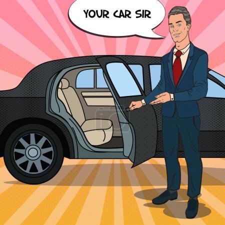 Illustration pour Driver Standing ner Limousine noire. Chauffeur de Premium Car. Illustration vectorielle Pop Art - image libre de droit