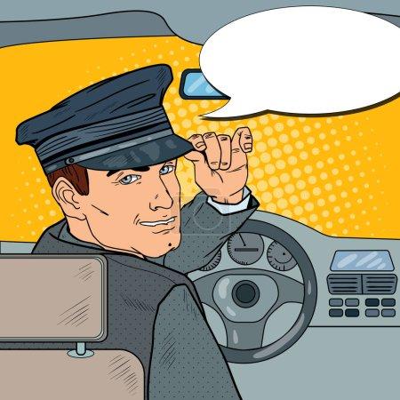 Illustration pour Chauffeur de limousine en uniforme. Chauffeur Saluant Passager. Illustration vectorielle Pop Art - image libre de droit