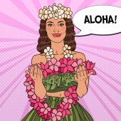 Beautiful Hawaiian Girl with Tropical Flower Necklace Pop Art vector illustration