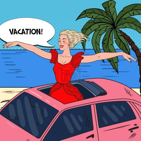 Illustration for Pop Art Happy Woman Standing in a Car Sunroof with Arms Wide Open. Beach Vacation. Vector illustration - Royalty Free Image