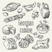 Georgian Food Hand Drawn Georgia Cuisine