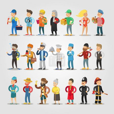 Photo pour Cartoon People Professions Set with Doctor, Judge, Student, Repairer, Chief, Farmer. Illustration vectorielle - image libre de droit
