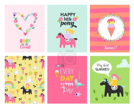Illustration pour Cartes de bébé avec des filles dessinées à la main sur les poneys. Affiches pour enfants Décoration de fête. Illustration vectorielle - image libre de droit