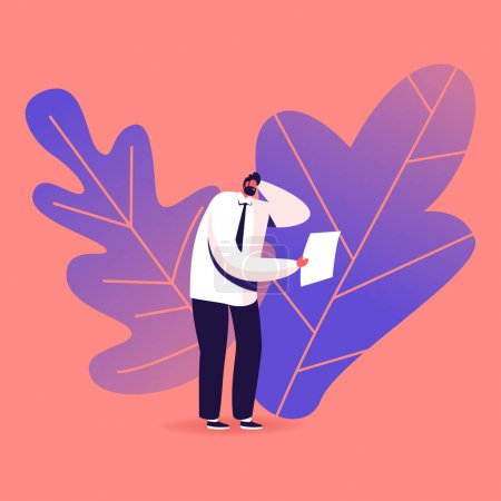 Confused Male Character Reading Express Test Result on Paper Document in Clinic or Hospital. Patient Got Positive Disease or Paternity Dna Medical Upshot, Lab Analysis. Cartoon Vector Illustration