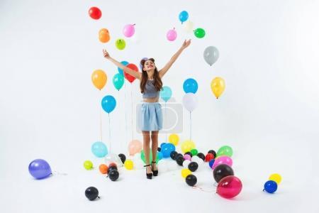 Dancing place. Stylish young girl celebrating birthday dancing, having fun