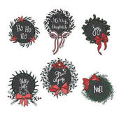 Set of cartoon christmas wreathes and garlands Vector illustration