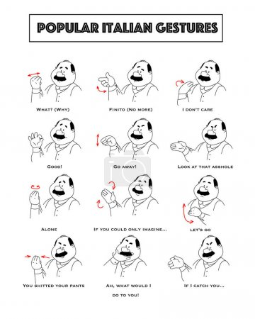 Gesturing funny cartoon bold man with mustaches. Set of gestures and humoristic explanations below.
