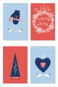 Set of christmas cards with wishes new year tree giftboxes and holiday decoration