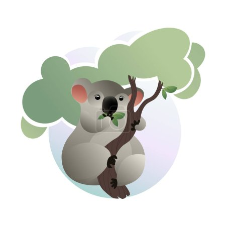 Cartoon scene of cute koala eating green leaves on tree