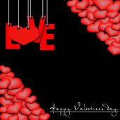 Happy Valentine's Day Red inscription love and heart hanging on a ropes on a black background Background of the different sizes hearts at the corners Vector illustration