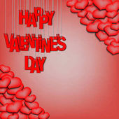 Red inscription happy Valentine's day hanging on a ropes on a red background  Background of the different sizes hearts at the corners Vector illustration