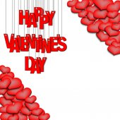 Red inscription happy Valentine's day hanging on a ropes on a white background  Background of the different sizes hearts at the corners Vector illustration