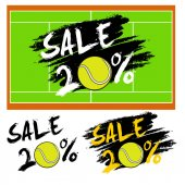 Set banners sale 20 percent with tennis ball