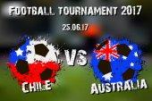 Banner football match Chile vs Australia  Vector illustration