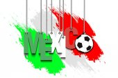 Banner the inscription Mexico and ball hang on the ropes on the background of the Mexican flag Vector illustration
