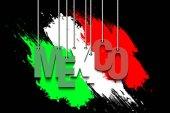 The word Mexico hang on the ropes against the background of the mexican flag Vector illustration
