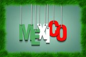 The word Mexico hang on the ropes  in frame of grass Vector illustration
