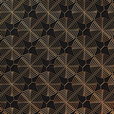 Gold abstract pattern on dark gray background. 3d rendering