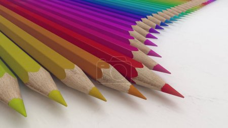 Colored pencils on a white paper 3d rendering