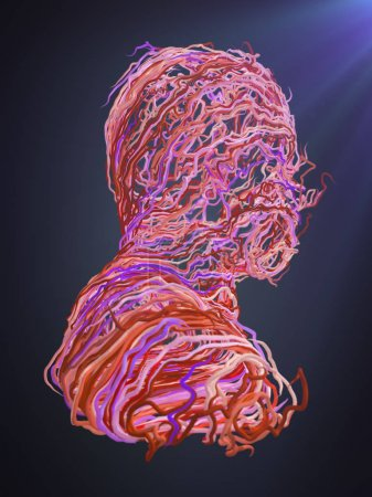 Abstract portrait. Interlacing pink curves. 3D rendering