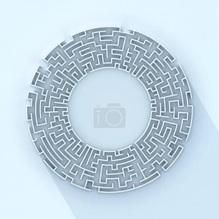 Round labyrinth concept 3d rendering