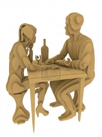 Abstract Folk Art Plywood 3d rendering