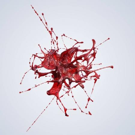 Red splash isolated on light 3d rendering