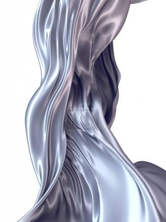 Photo pour Abstrait 3d rendant fond de tissu argenté coulant - image libre de droit