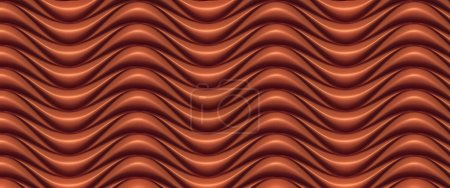 Chocolate wave band abstract surface pattern. 3d rendering