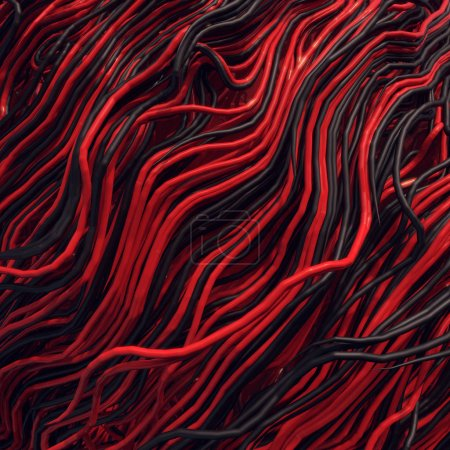 Curl noise flow abstract colored lines. Very shallow depth of field. 3D rendering